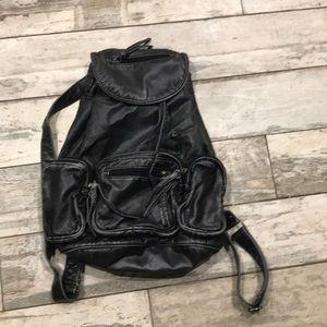 Vintage soft leather black gray book bag